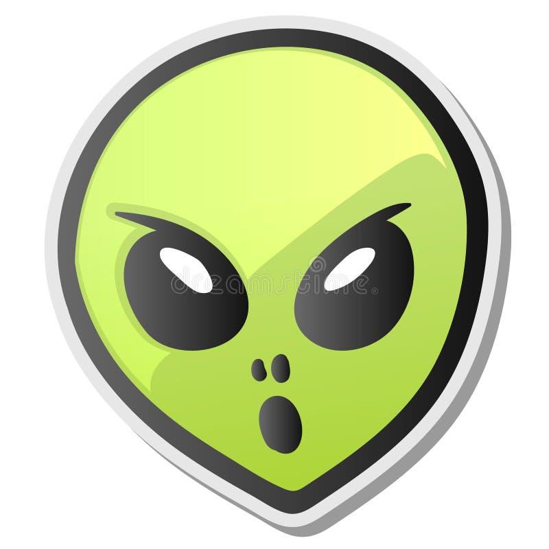 De groene vreemde sticker van gezichtsemoji stock illustratie