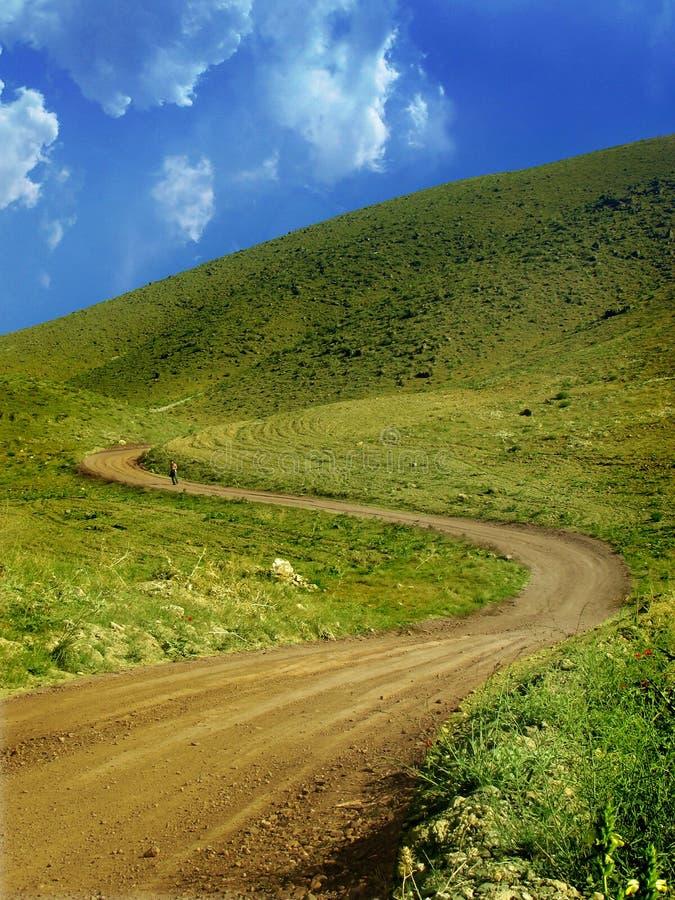De groene weg van de berg royalty-vrije stock fotografie