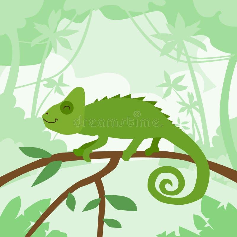 De Groene Wildernis Forest Colorful van het beeldverhaalkameleon vector illustratie
