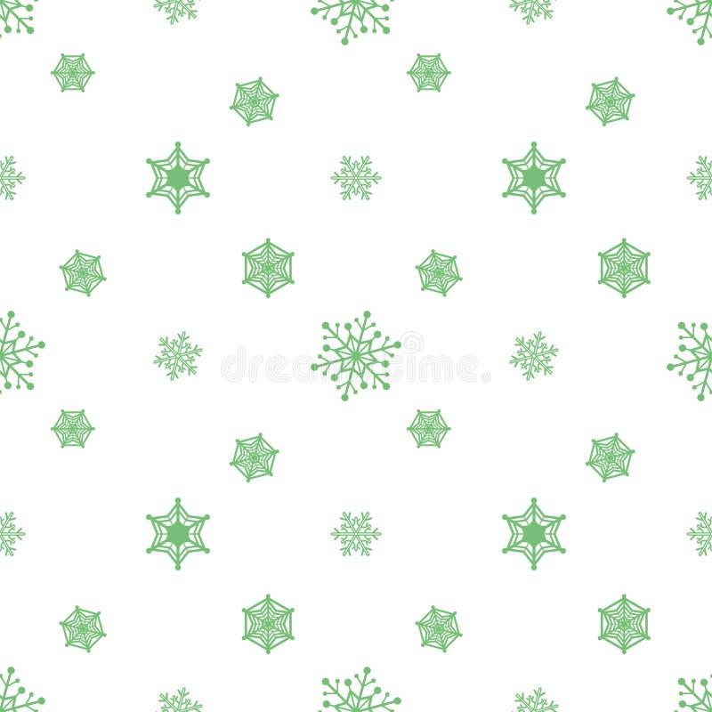 De groene witte achtergrond van de sneeuwvlokpastelkleur vector illustratie