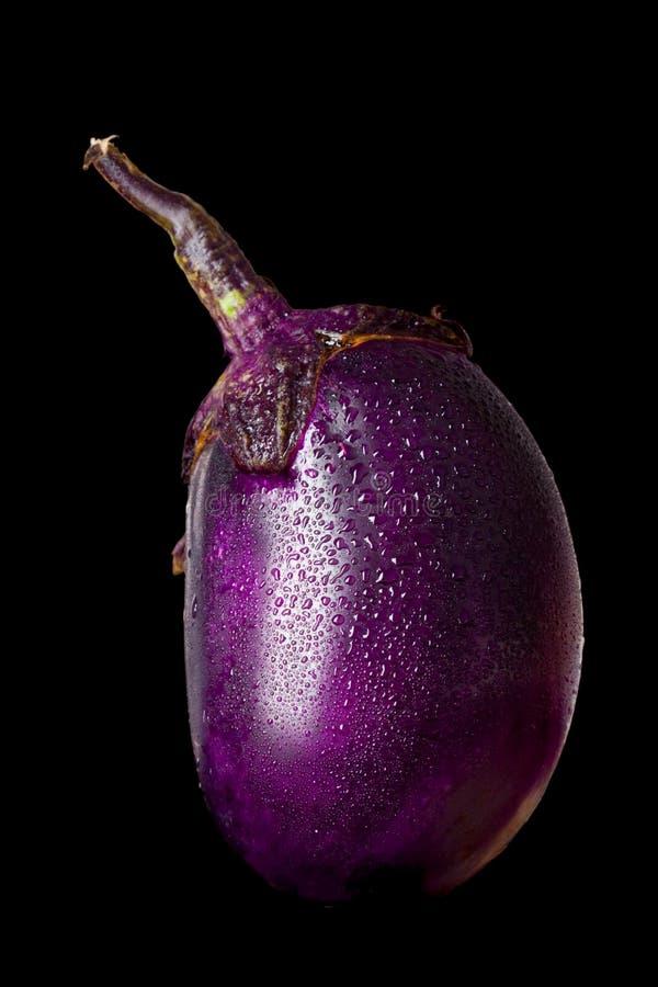 De groente van de aubergine die op zwarte wordt geïsoleerdd royalty-vrije stock foto's