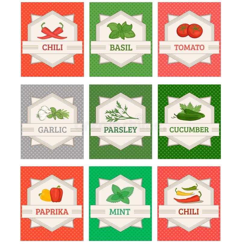 De groenten en de kruiden plaatsen etiketten, royalty-vrije illustratie