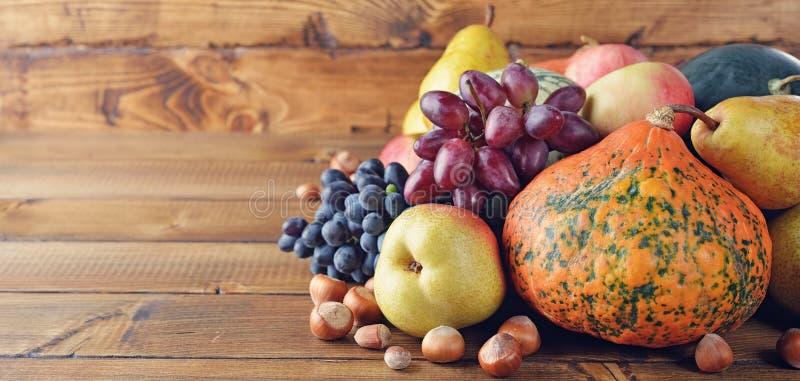 De groenten en de vruchten van de herfst stock afbeeldingen