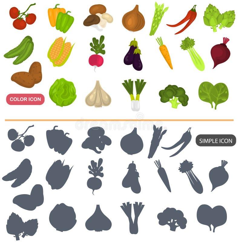 De groenten kleuren vlakke en eenvoudige die pictogrammen voor Web en mobiel ontwerp worden geplaatst royalty-vrije illustratie