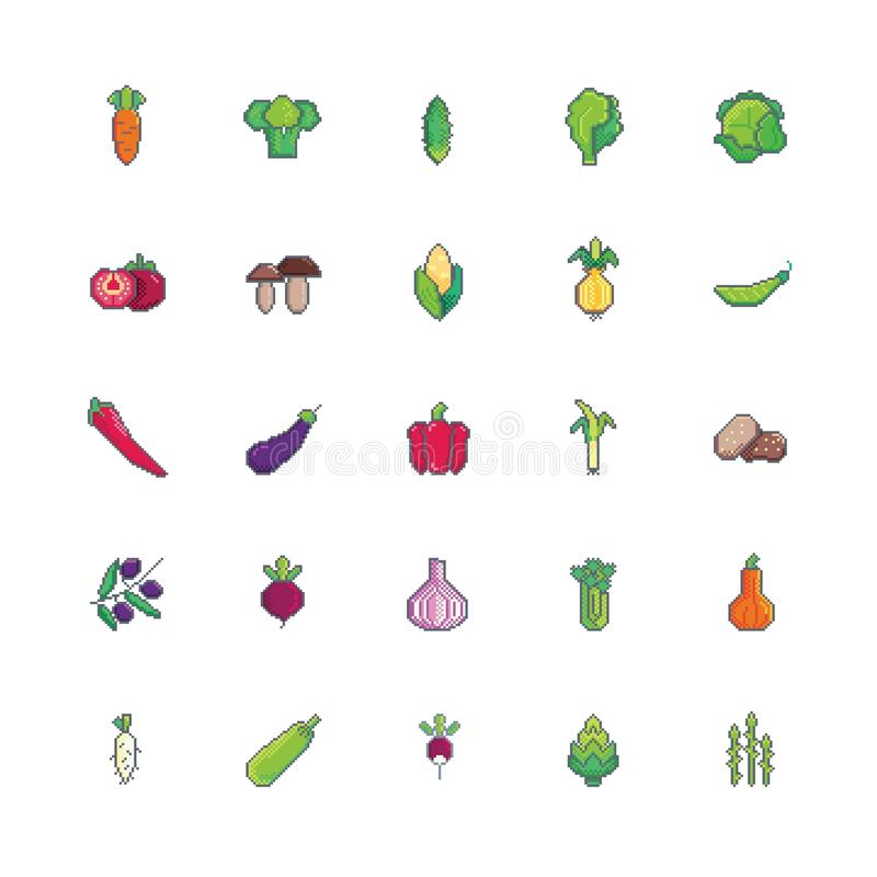 De groenten van de pixelkunst geplaatst pictogram vector illustratie