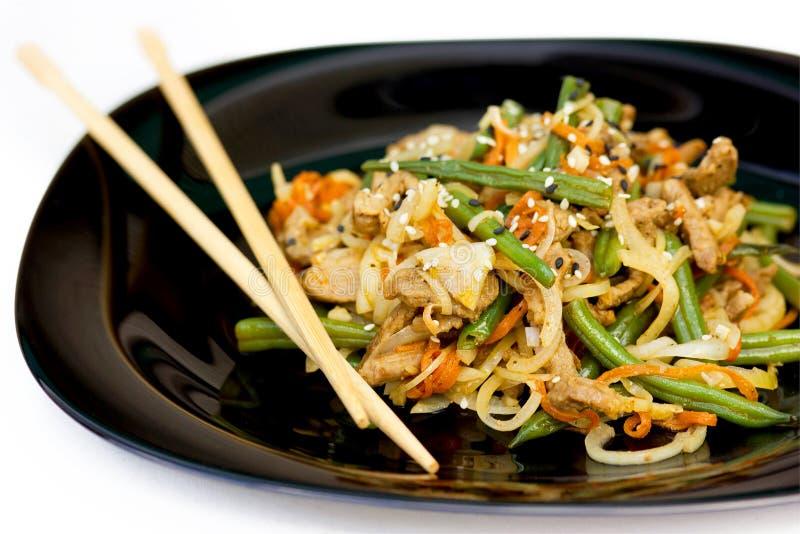De groenten van varkensvleesslabonen bewegen gebraden gerecht, traditionele Aziatische keuken stock afbeelding