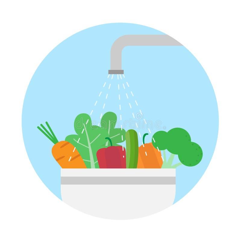 De groenten van de was Schoon voedsel stock illustratie