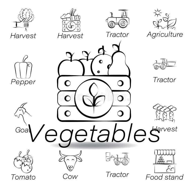 De groentenhand trekt pictogram Element van de landbouw van illustratiepictogrammen De tekens en de symbolen kunnen voor Web, emb stock illustratie