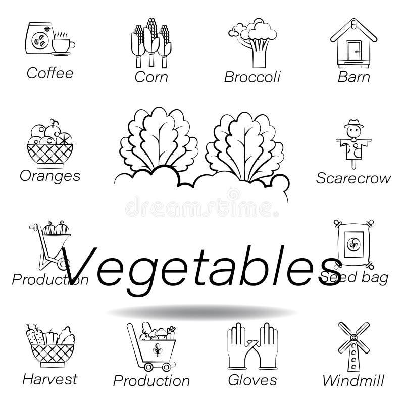 De groentenhand trekt pictogram Element van de landbouw van illustratiepictogrammen De tekens en de symbolen kunnen voor Web, emb vector illustratie