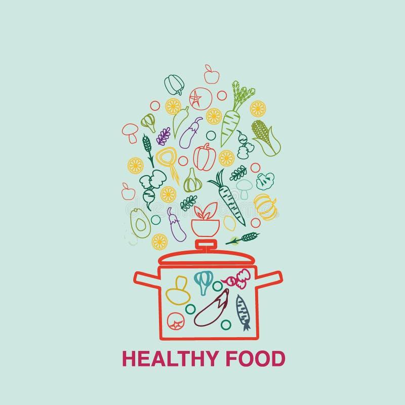 De groentesoep met ingrediënten isoleerde gezond voedsel stock illustratie
