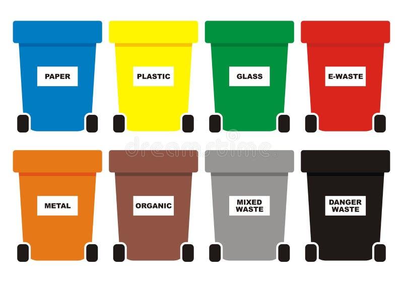 De groep afvalblikken, acht kleurt containers voor afval, vectorpictogram stock illustratie