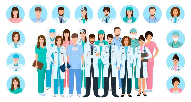 De groep artsen en verpleegsters karakters in verschillend stelt met vectorprofielavatars Medische mensen Het ziekenhuispersoneel stock illustratie