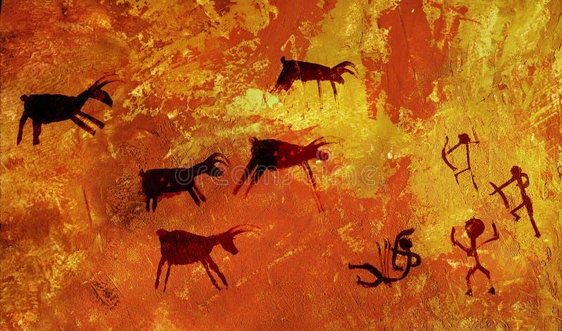 De groep barbaren jaagt een kudde van hoofed dieren van herten en Amerikaanse elanden Stylization van het art. van de holrots stock foto