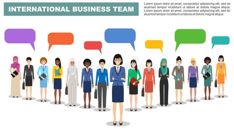De groep bedrijfsmannen en vrouwen, werkende mensen zich en toespraak die borrelt op witte achtergrond in vlakke stijl verenigen vector illustratie