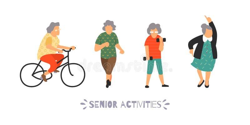 De groep bejaarde mensen gaat binnen voor sporten Hogere openlucht geplaatste activiteiten Recreatie en vrije tijds bejaard perso stock illustratie