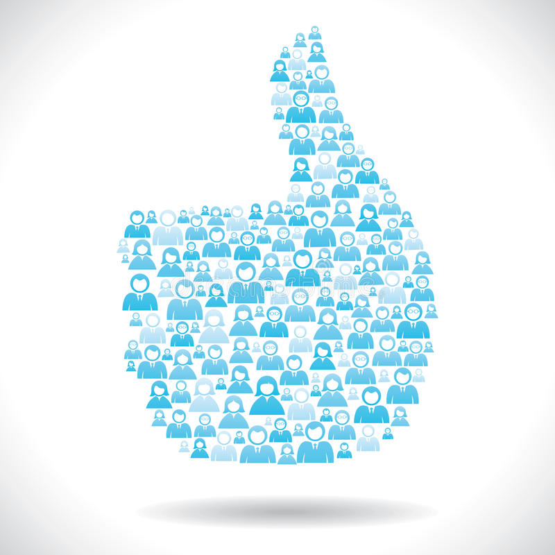 De groep blauwe mensen maakt als symbool vector illustratie