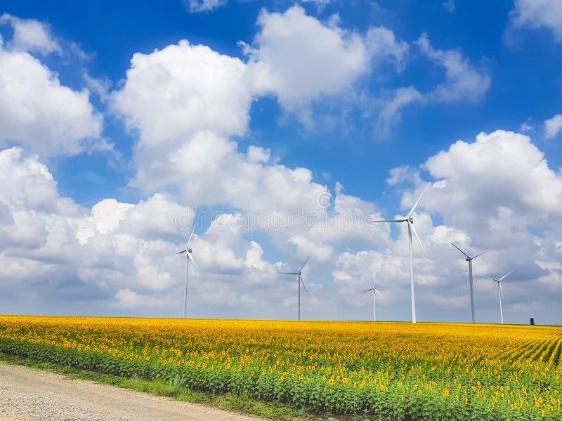 De groep die van windturbines schone energie produceren stock fotografie