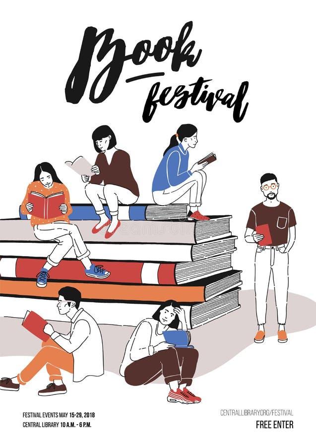 De groep jongeren kleedde zich in in kledingszitting op stapel van reuzeboeken of naast het en lezing Gekleurde vector vector illustratie
