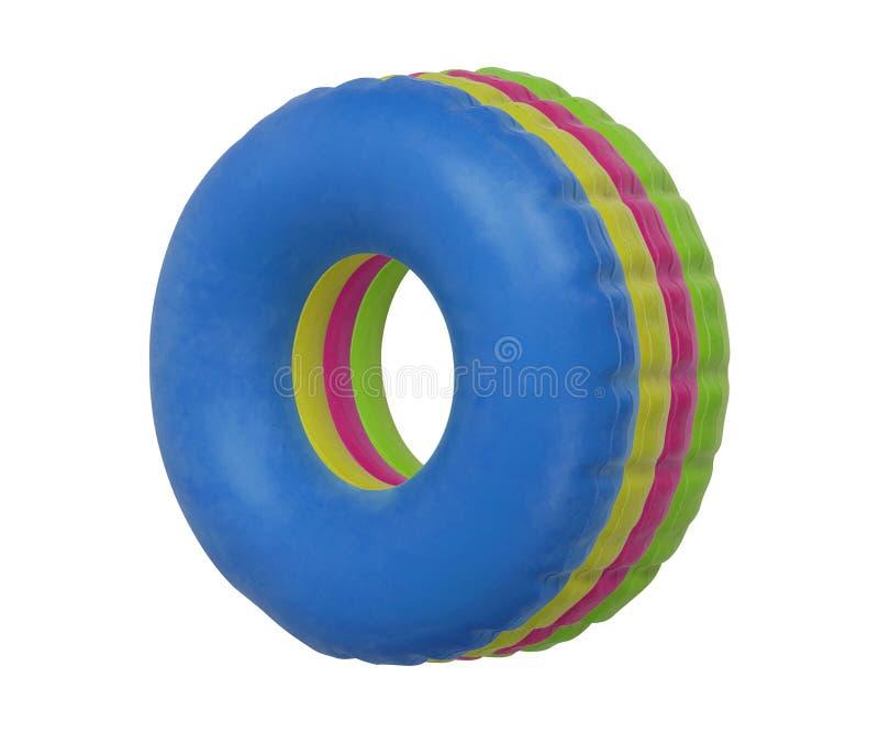 De groep kleurrijk zwemt ring op wit wordt geïsoleerd dat stock foto's