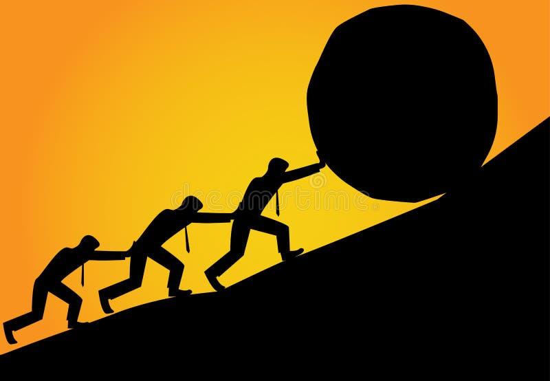 De groep de Mens probeert om steenbal tot bovenkant van heuvel te leiden royalty-vrije illustratie