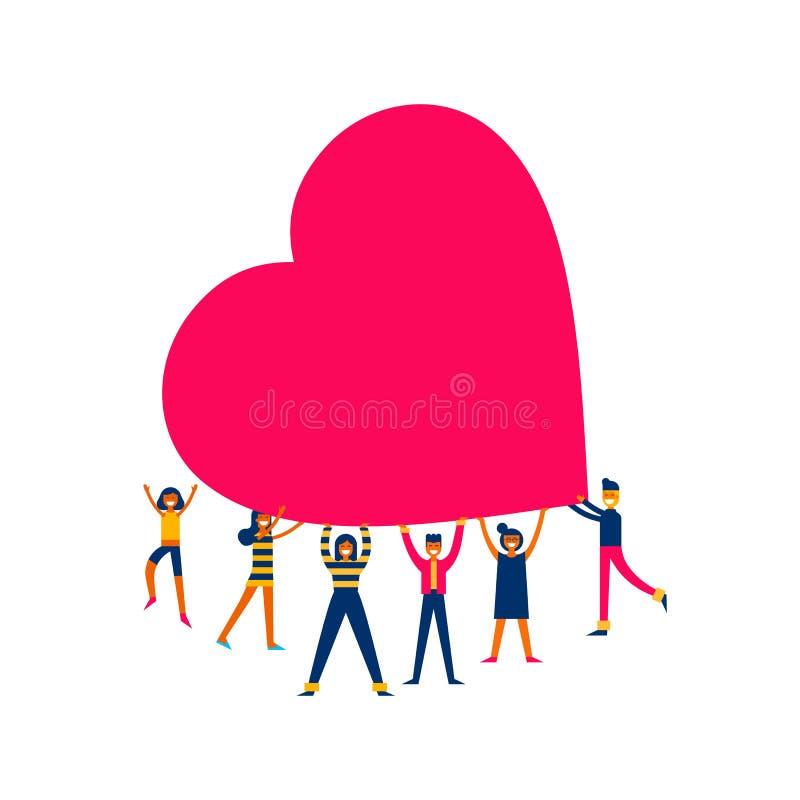 De groep mensen houdt grote het conceptenillustratie van de hartliefde vector illustratie