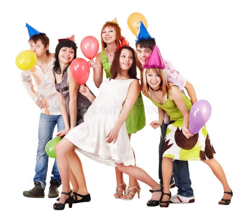 De groep mensen viert verjaardag. stock foto