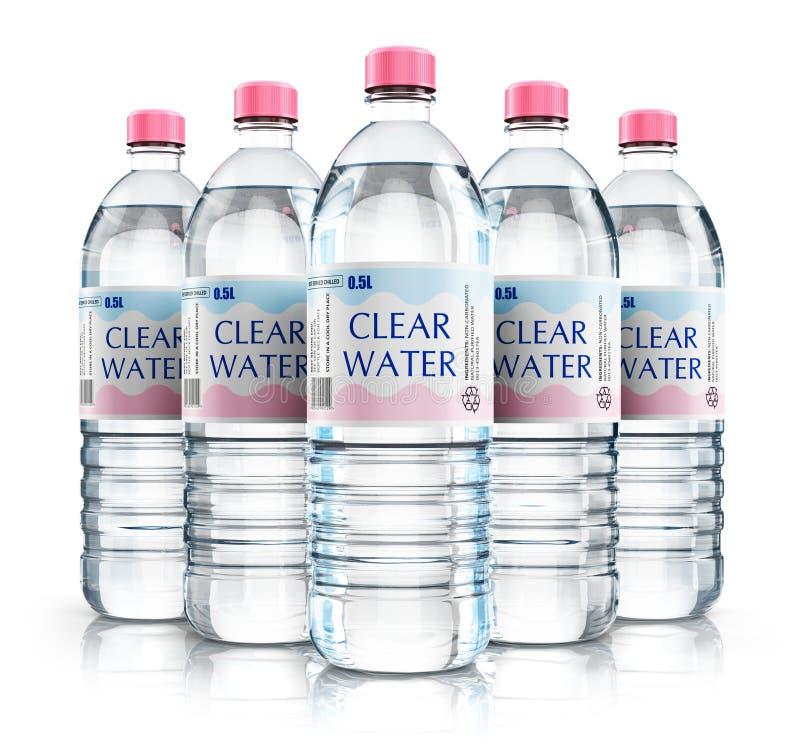 De groep plastiek drinkt waterflessen royalty-vrije illustratie