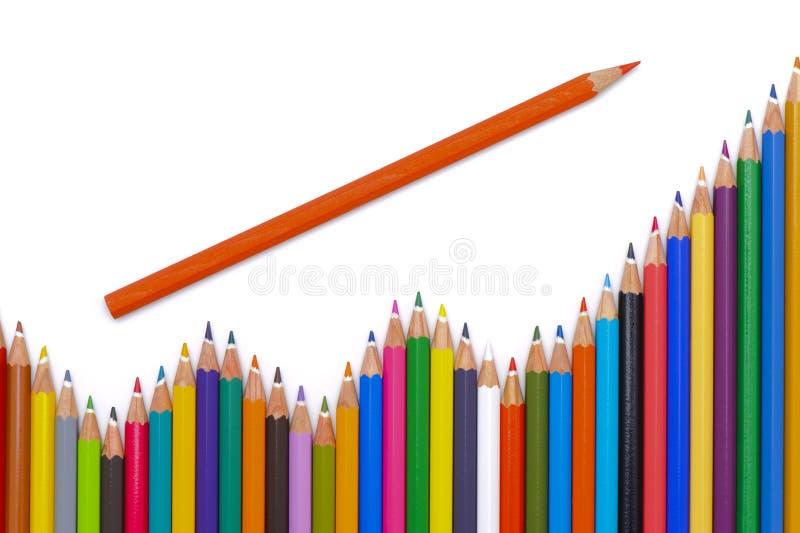 De groep potloden toont succes royalty-vrije stock afbeelding