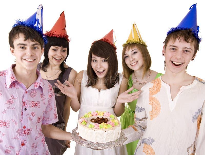 De groep tieners viert gelukkige verjaardag. royalty-vrije stock fotografie