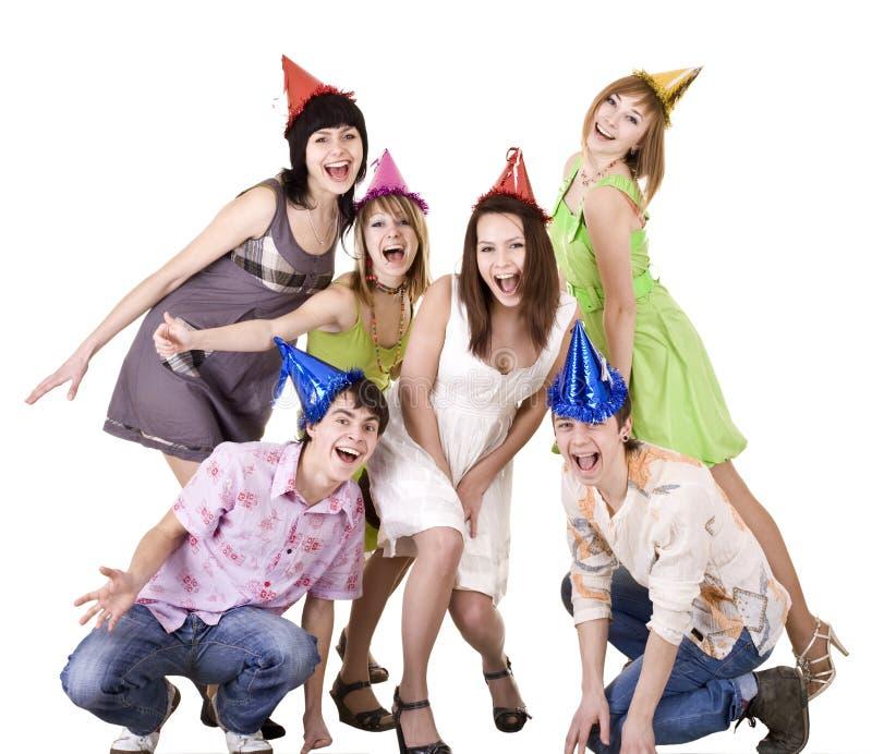 De groep tieners viert verjaardag. royalty-vrije stock afbeelding