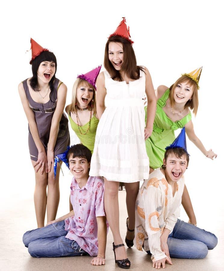 De groep tieners viert verjaardag. royalty-vrije stock foto's