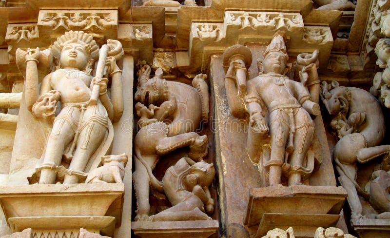 De Groep van de Khajurahotempel Monumenten in IndiaSandstone-beeldhouwwerken in Khajuraho-Tempelgroep Monumenten in India royalty-vrije stock foto's