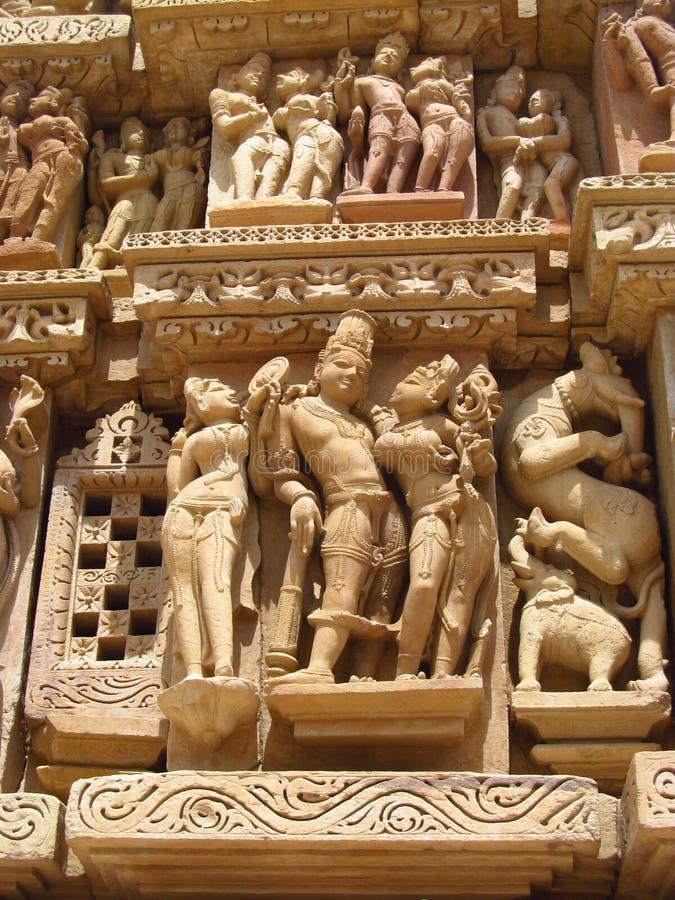 De Groep van de Khajurahotempel Monumenten in IndiaSandstone-beeldhouwwerken in Khajuraho-Tempelgroep Monumenten in India stock afbeeldingen