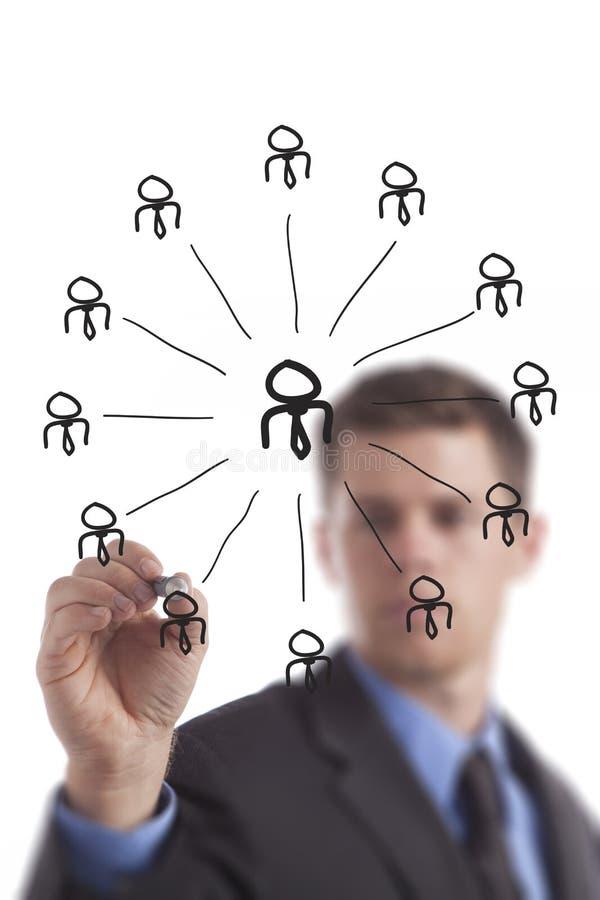 De Groep van het Voorzien van een netwerk Tekening van de bedrijfs van de Mens stock afbeelding
