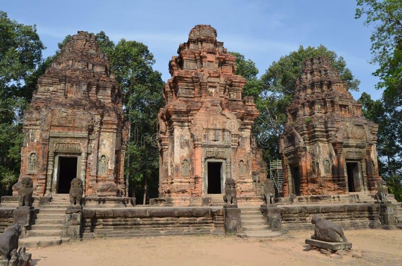 De Groep van Ko Angkor Roluos van Preah. Kambodja royalty-vrije stock afbeelding