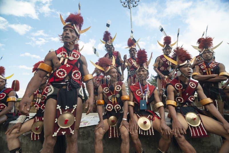 De Groep van Nagatrbal bij Hornbill-festival, Kohima, Nagaland, India op 1 December 2013 royalty-vrije stock foto