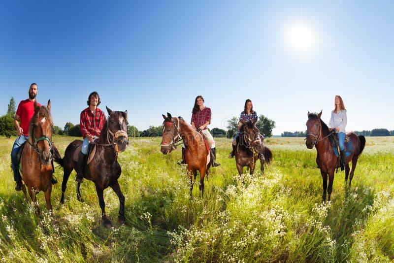 De groep van vijf jongeren geniet van berijdend paarden stock afbeelding