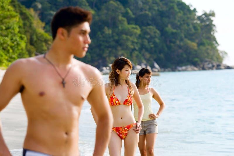De groep vrienden die zich door het strand bevinden kijkt uit aan stock foto