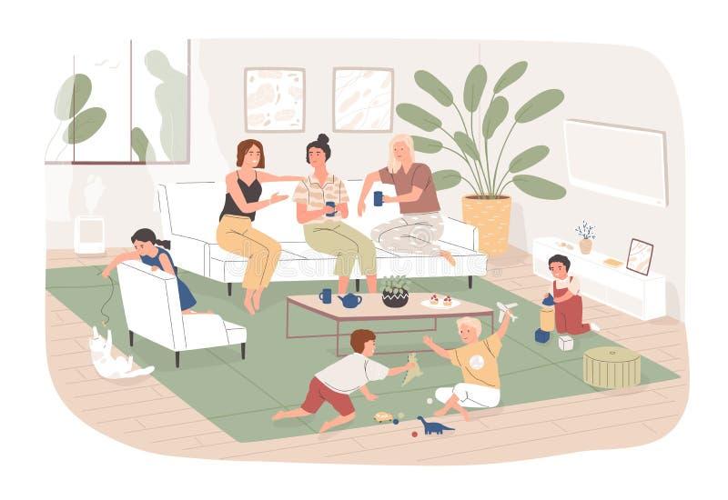 De groep vrouwen zit in comfortabele ruimte, drinkt thee en bespreking aan elkaar terwijl hun kinderen spelen Jonge mamma's die t vector illustratie