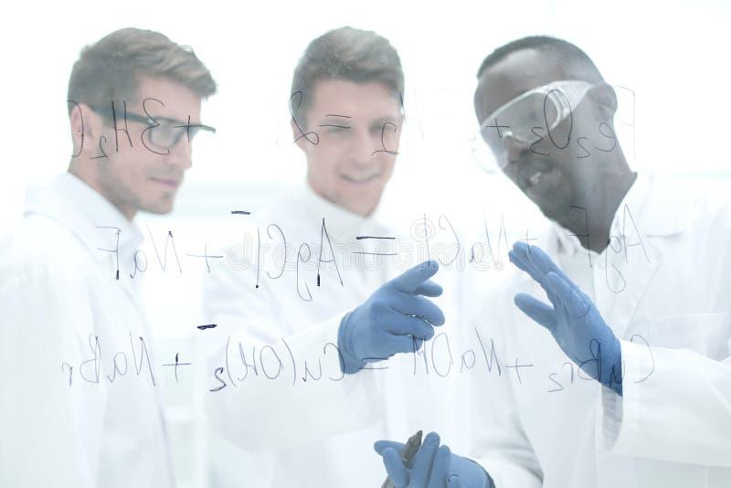De groep wetenschappers bespreekt de resultaten stock foto