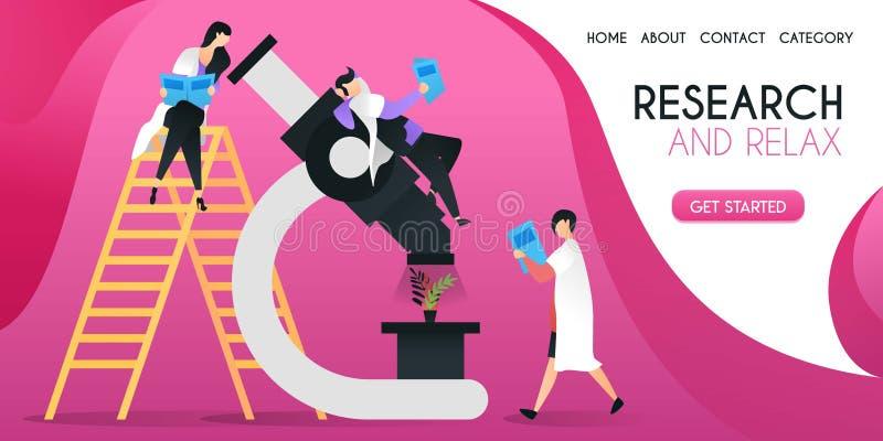 De groep wetenschappers die installaties op een groot concept onderzoeken van de microscoop vectorillustratie, kan gebruik voor p vector illustratie