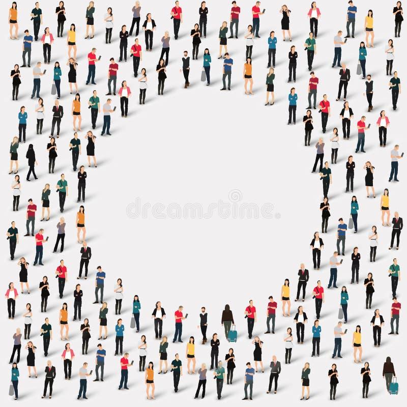 De groepsmensen geven cirkel gestalte vector illustratie