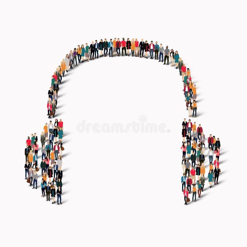 De groepsmensen vormen hoofdtelefoons royalty-vrije illustratie
