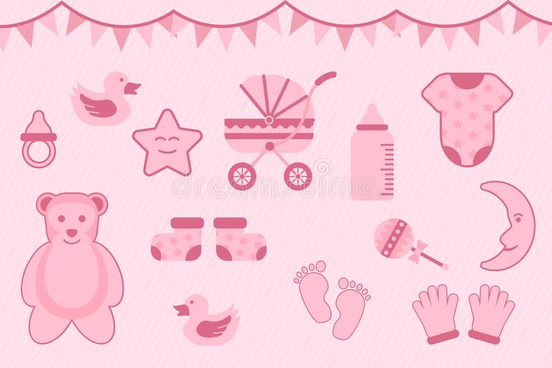 De groet van de babydouche met roze kleur met diverse voorwerpen - vectorillustratie royalty-vrije illustratie