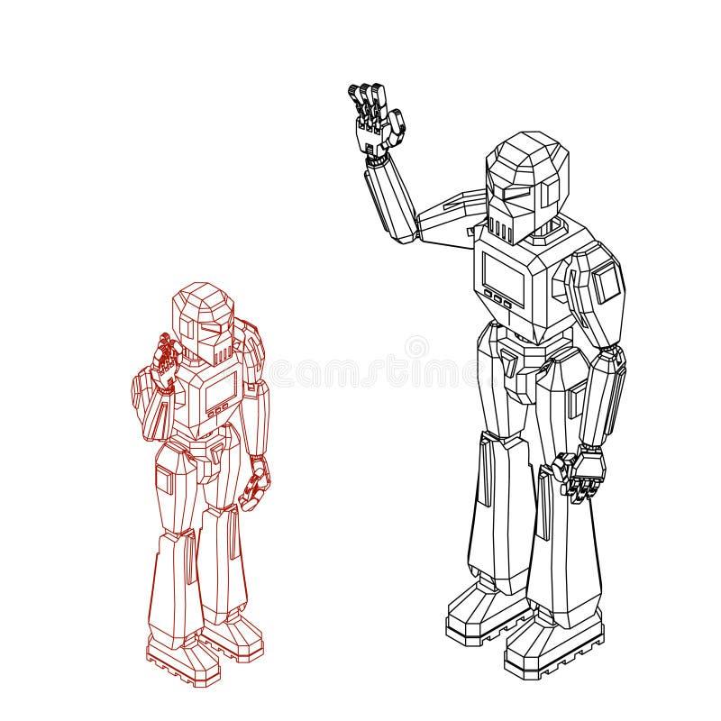 De groet van het robotkarakter Geïsoleerdj op witte achtergrond Vectoro stock illustratie