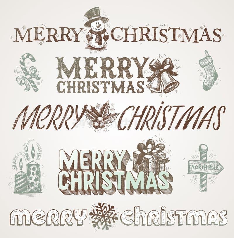 De groeten en de tekens van Kerstmis royalty-vrije illustratie