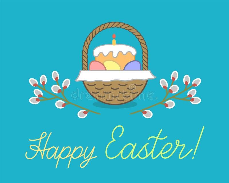 De groetenkaart van Pasen Rieten mand met brood, eieren, servet, wilgentak en handtekening het van letters voorzien royalty-vrije illustratie