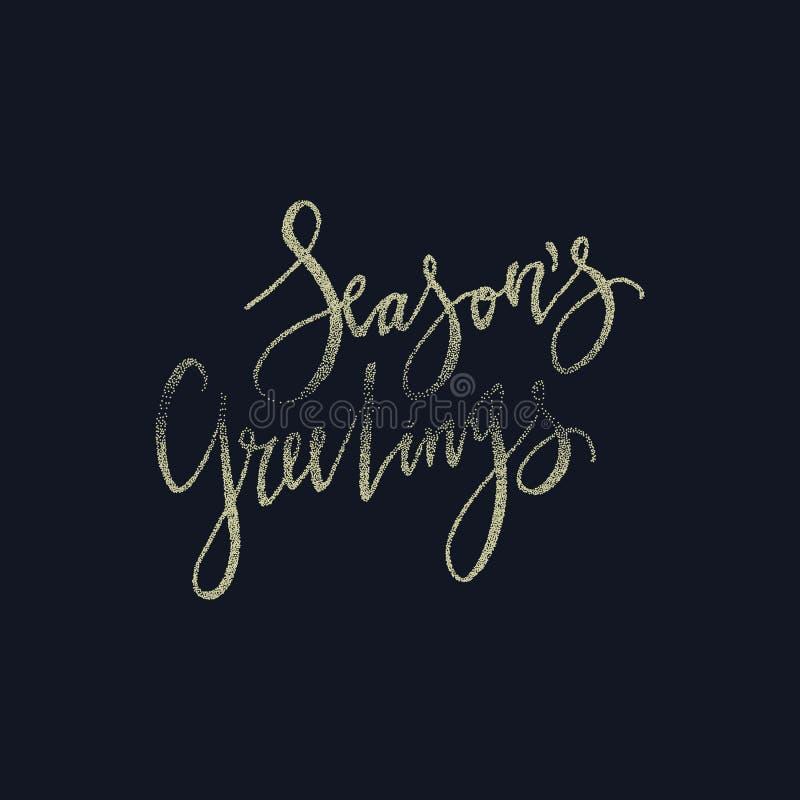 De groetenkaart van seizoenen De kalligrafieuitdrukking met goud schittert textuur Het moderne van letters voorzien Nieuwe jaarui stock illustratie