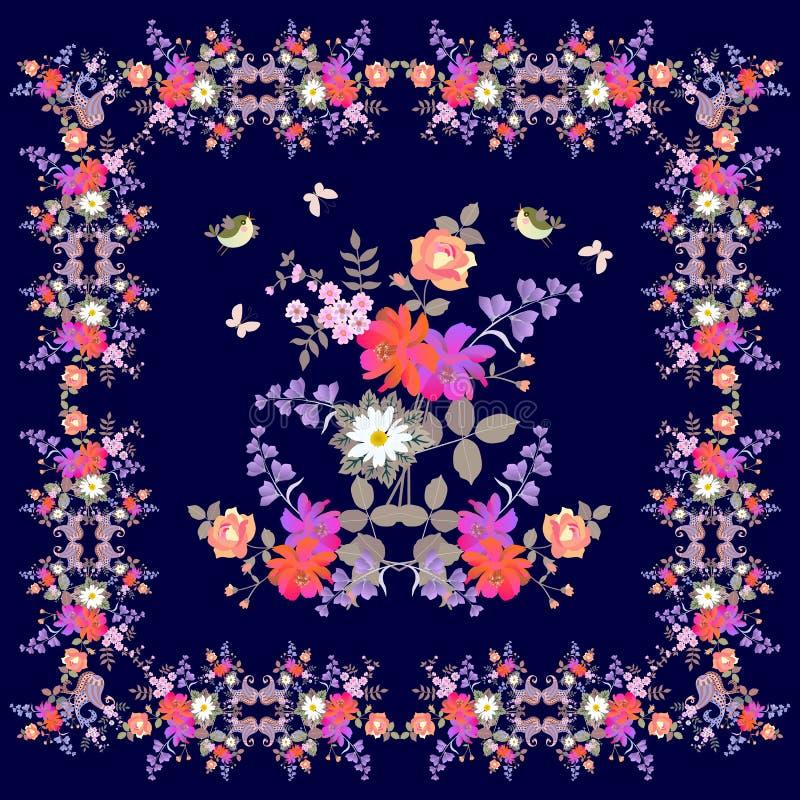De groetkaart, bandana of de kussensloop met het sier bloemenkader van Paisley, boeketten van tuin bloeien, vlinders en vogels vector illustratie