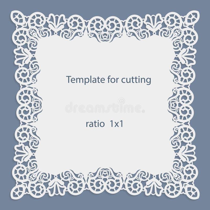 De groetkaart met openwork grens, document doily onder de cake, malplaatje voor knipsel, huwelijksuitnodiging, decoratieve plaat  royalty-vrije illustratie